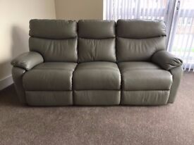 Harveys 3 Seater grey leather Reclining Sofa - As new still with tags