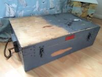 MILITARY NAVAL SOLID PINE TRUNK WITH INTERESTING INSIDE £125 o.n.o Pistol Rocket Apparatus SCHERMULY