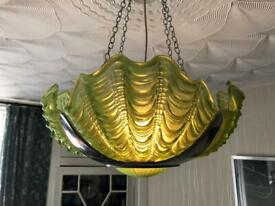 Art Deco clam shell lampshade green