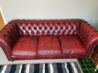 Genuine 3-Seater Oxblood Chesterfield Sofa - Mint Condition