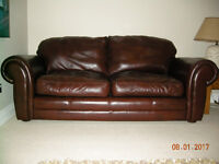 Laura Ashley Chestnut Leather Sofa