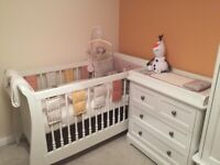 Mamas and Papas Orchard Sleigh Cot Bed and Sprung Mattress (2 available)