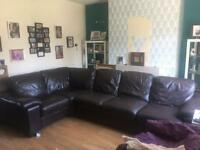 Dfs chocolate brown leathers corner sofa