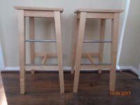 2 x solid pine bar stools. Ikea bosse