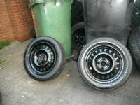 195 X 60 X 15 TYRES , 2 TYRES ON VERY TIDY BLACK , 4 STUD,4 X 100 PCD STEEL WHEELS, GOOD COND