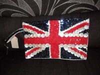 Next retro style union jack sequinned bag bnwt