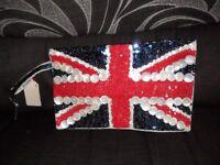 Next retro style union jack sequinned bag bnwt