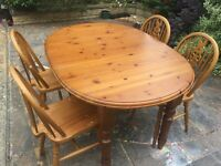FREE Farmhouse Style Extendable Wooden Dining Table And Chairs