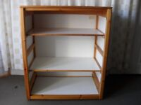 LARGE WHITE AND PINE SHELVED STORAGE UNIT
