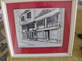 Judge Jeffreys Restaurant in Dorchester pen and ink drawing by Joyce Lawrence