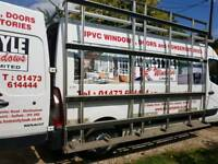 Window fitters Top and side frail with ladder roller for van.