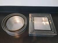 2x sets of round & square cake tins