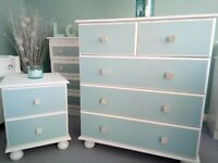 Beautiful white and duck egg drawer set with sparkly diamante knobs