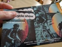 2x adult tickets THE CYCLE SHOW - NEC Birmingham (either Fri or Sun)