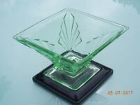 Vintage Green Glass Art Deco Vase on Black Base