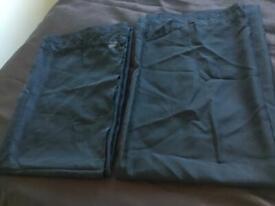 PLAIN BLACK SLOT TOP VOIL CURTAINS- x2 £15 for both