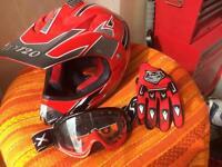 Motocross helmet gloves & goggles