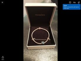 Pandora bracelet with safety clasp and a charm