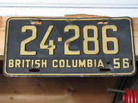 1956 British Columbia Automotive License Plate.