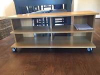 Stylish Ikea Wooden TV Unit On Castor Wheels Good Condition
