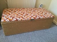 1970's Wicker Ottoman with Flower Patterned Top