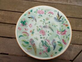 Antique Oriental celadon plate