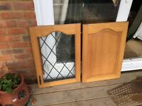 Five oak kitchen cabinet doors