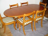Yew Wood Dining Table, Chairs and Sideboard