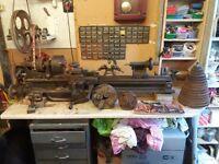 metal working lathe,vintage belt driven