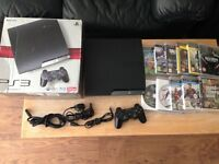 Ps3 slim with 250 gb, 10 Games and a wireless controller