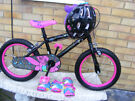 """GIRLS 16"""" WHEEL BIKE WITH SAFETY HELMET & PADS HARDLY USED AGE 4+"""