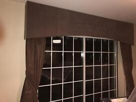 Curtains and valances for 2 windows and patio doors