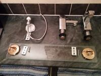 Bathroom accessories - taps, towel rails, soap and cup holders