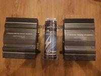 sub-zero Ice Car Amplifiers x2 ( 150W + 600W ) 2 Channel + Capacitor