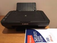 CANON PRINTER + INK CARTRIDGES + PAPER