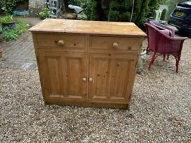Solid vintage pine two drawer two cupboard sideboard
