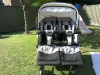 Emmaljunga Twin/double pushchair/pram twin nitro in silver check