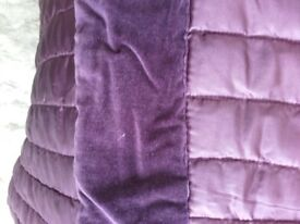 Large plum coloured quilted sateen throw and 3 coordinating scatter cushions