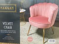 Hannah Chair Shell Blush Velvet BRAND NEW