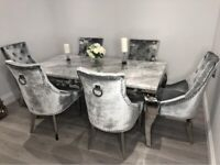 Louis marble dining set with 6 french grey knocker back chairs