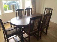 Mahogany Oval Extending Table & 6 Chairs