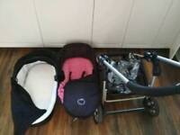 ICandy pram with baby cot black / pink