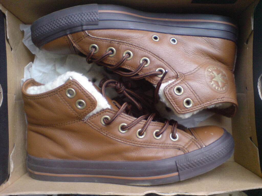 9ec5e962aefa converse all star brown leather trainers with sheep skin lining uk6 size