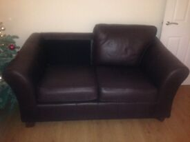 Small dark brown leather m&s sofa