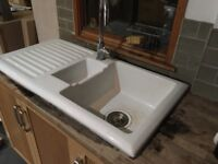 Sink & Tap. Double ceramic kitchen sink, drainer and tap