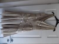 Karen Millen dress and matching bolero in champagne colour size 10