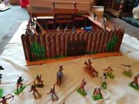 """""""Fort Holland"""" toy cowboy fort (1980s original) with attacking indians"""