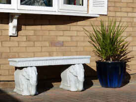 Elephant Detailed Stone Outdoor Bench Decorative Animal Garden Furniture Seat