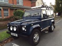 Fabulous India Blue Landrover Defender with Landrover Roofrack