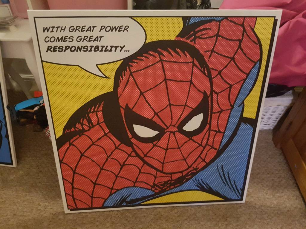 Spiderman and superman large canvas pics